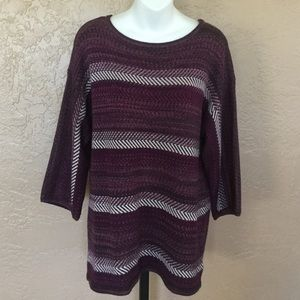Chaps Ralph Lauren Purple Gray Woven Sweater XL